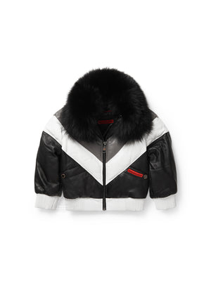 Kid's V-Bomber Black/White/Grey Jacket