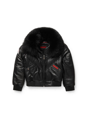 Kid's V-Bomber Black Jacket
