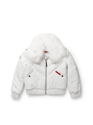 Kid's V-Bomber White Jacket
