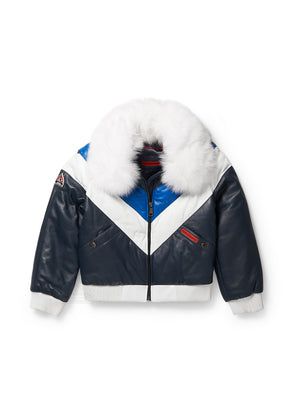Kid's V-Bomber Sky Blue/Navy White Jacket