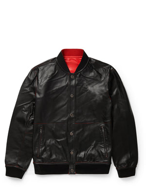 Men's Blouson Black/Red Reversible Jacket