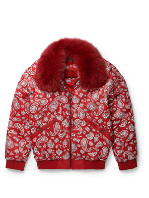 Men's V-Bomber Paisley Red Print