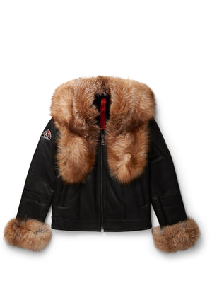 Women's Blossom Sheepskin Shearling Black w/Crystal Fox