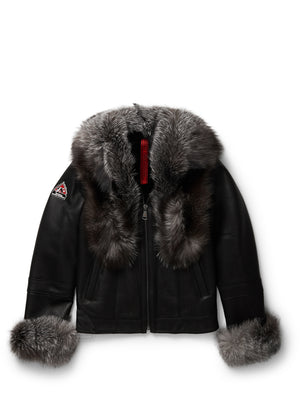 Women's Blossom Sheepskin Shearling Black w/Silver Fox