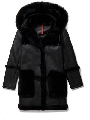 Women's 3/4 Quarter Shearling W/ Hood Black