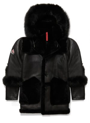 New Mens 3/4 Quarter Shearling W/ Hood Black