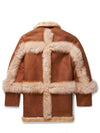 New Mens 3/4 Quarter Shearling W/ Hood Camel