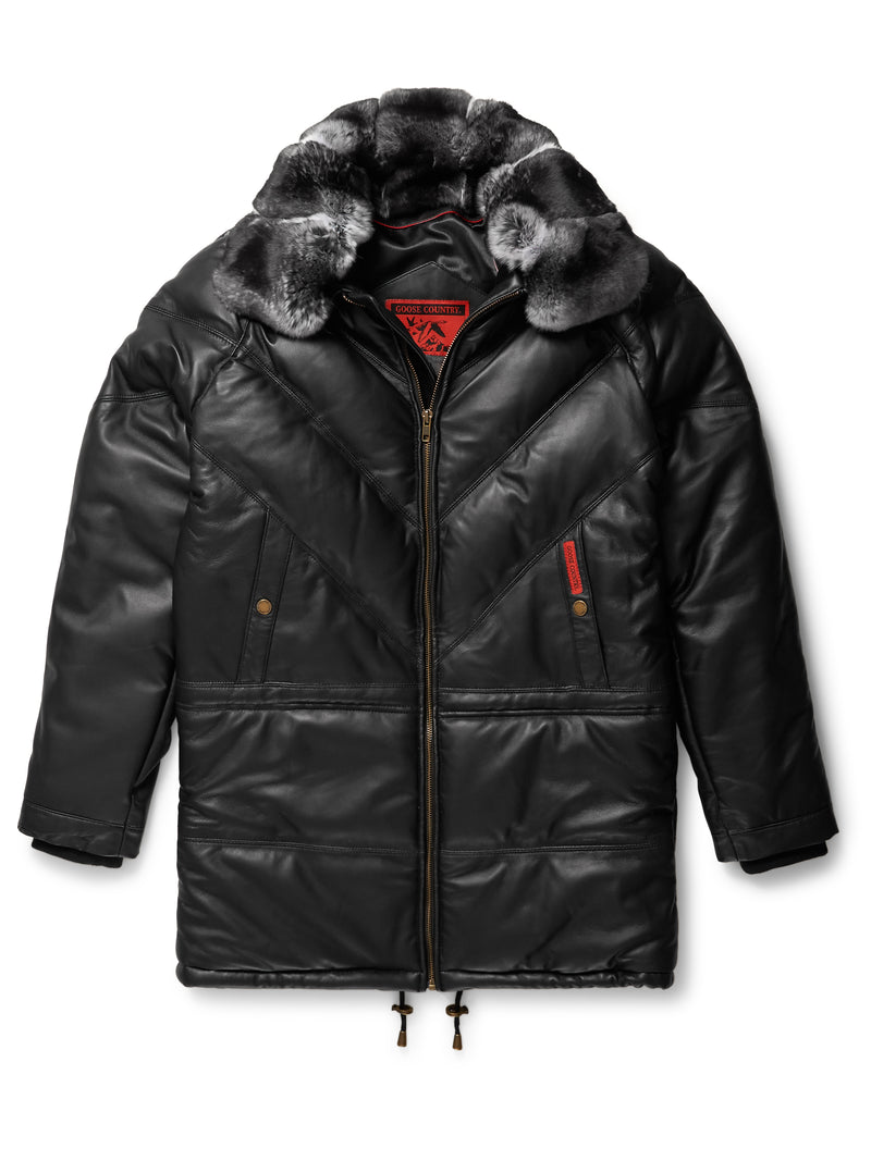 Goose Country 3/4 Quarter V-Bomber: Black Leather w/ Chinchilla Collar