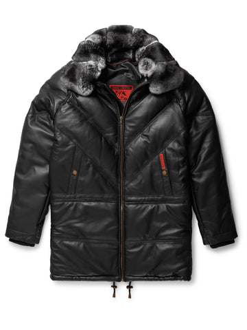 Goose Country V-Bomber: Black Leather w/ Brown Fox Fur