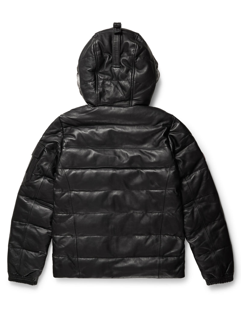 Goose Country Men's Bubble Jacket: Black Leather w/ Chinchilla Trim