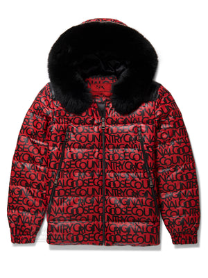 New Men's Graffiti Red Bubble Jacket