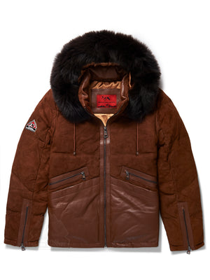 Men's Leon Suede Bubble Jacket Brown
