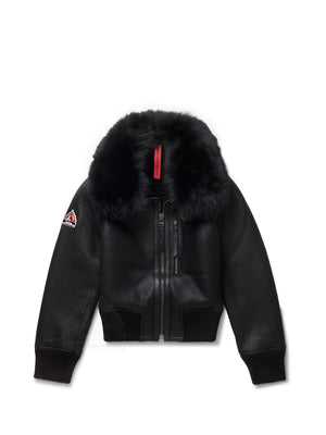 Women's London Sheepskin Shearling Bomber Black