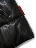 Men's Bubble Jacket Black Leather w/ Crystal Fox Collar