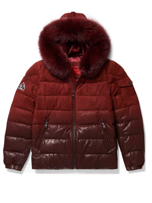 Men's Bubble Jacket Burgundy Suede/Leather Combo