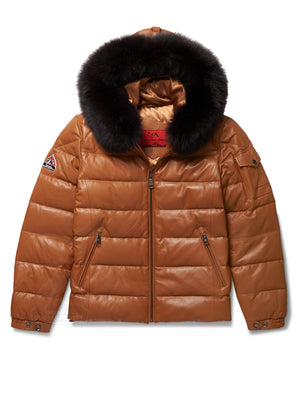 Men's Bubble Jacket Camel Leather