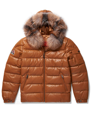Men's Bubble Jacket Camel Leather w/Crystal Fox Fur
