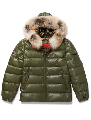 Men's Bubble Jacket Olive Leather