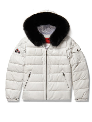 Men's Bubble Jacket White Leather