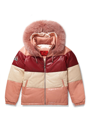 Women's Mia Bubble Jacket Multi Color Pink/Burgundy/White