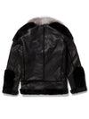 Men's Moto Racer Sheepskin Shearling Black w/ Silver Fox Collar