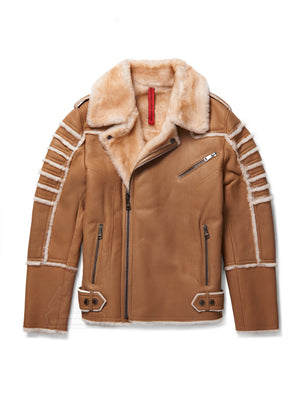 Men's Moto Sheepskin Shearling Jacket Camel