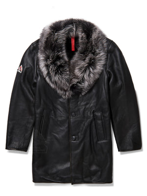 Mens Rider Sheepskin Shearling 3/4 Jacket Black