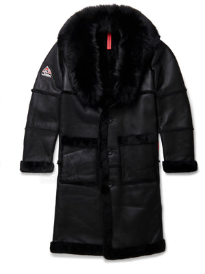 Mens Trench Sheepskin Shearling Jacket Black