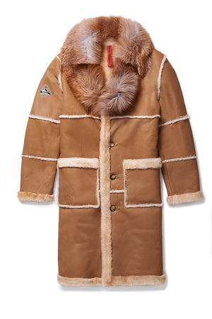 Mens Trench Sheepskin Shearling Jacket Camel
