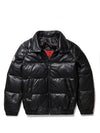 Men's Straight Bubble Jacket Black w/ Silver Fox Fur