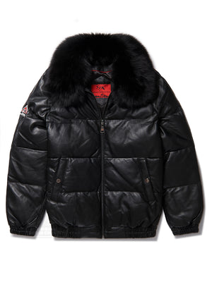 Men's Straight Bubble Jacket Black w/ Black Fox Fur