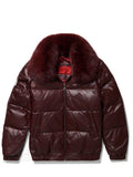 Men's Straight Bubble Jacket Burgundy w/ Fox Fur