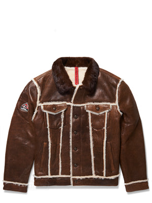 Men's Trucker Sheepskin Shearling Jacket Brown