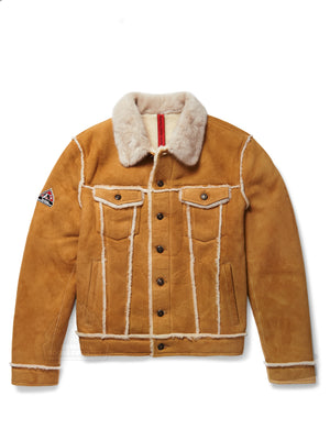 Men's Trucker Sheepskin Shearling Jacket Camel