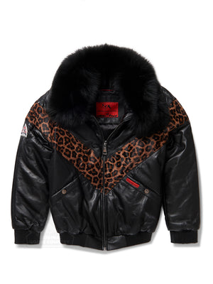 Women's V-bomber In Black w/Leopard Print