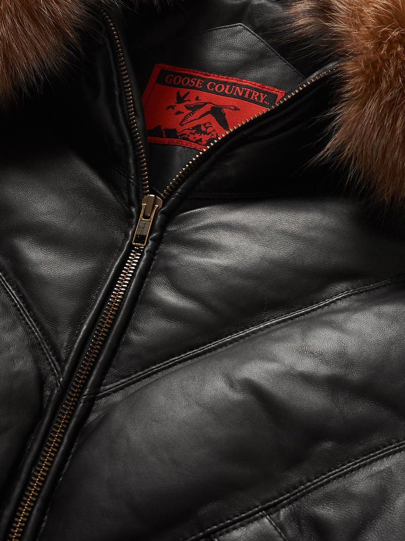Goose Country V-Bomber: Black Leather w/ Crystal Fox Fur