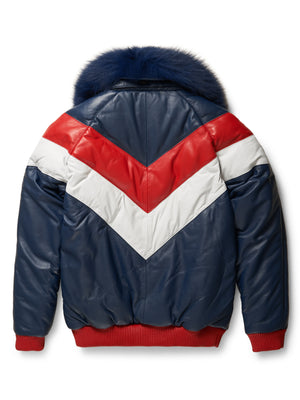 Goose Country V-Bomber Two-Tone: Red/White/Blue- Navy Fox Collar Limited Edition