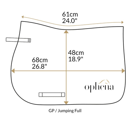 Dimensions of saddle pad Ophena Evolution Show Jumping Full
