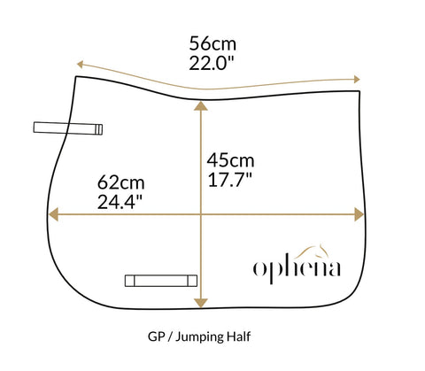 Dimensions of saddle pad Ophena Evolution Show Jumping Half