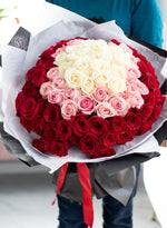 100 ROSE HAND-TIED BOUQUET - Available in Red Deer and Vancouver Studio