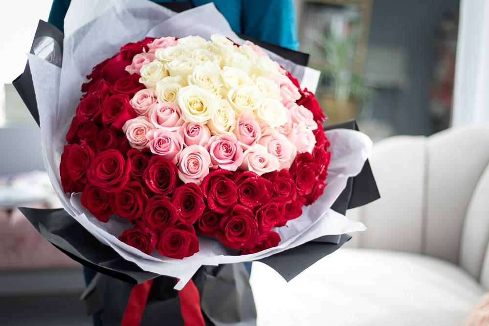 100 ROSE HAND-TIED BOUQUET - IN Vancouver and Red Deer Studio