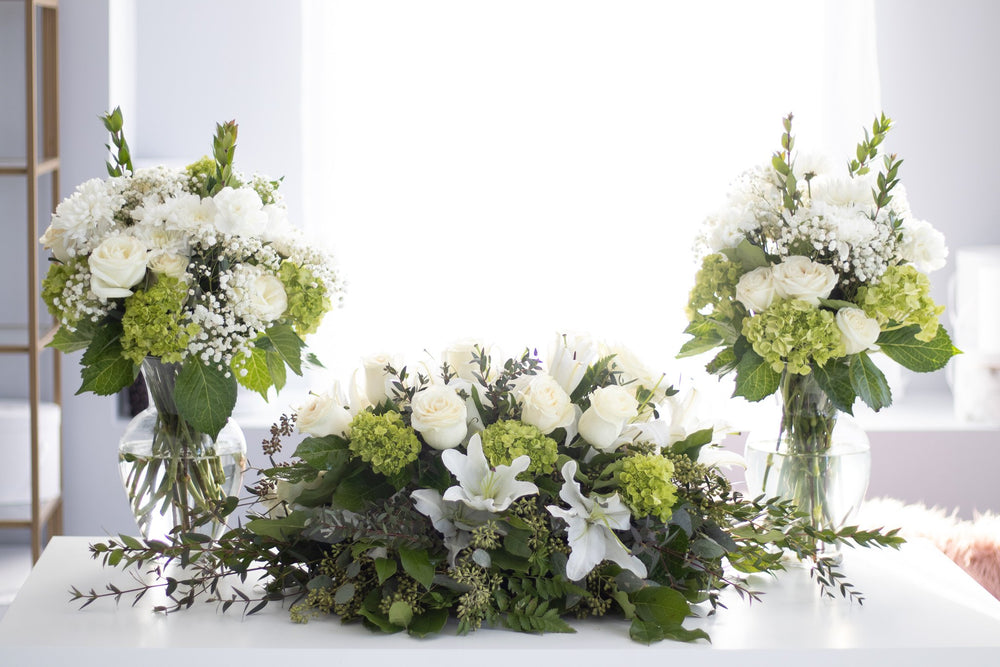 Casket Spray and Vase Arrangement Custom White Florals
