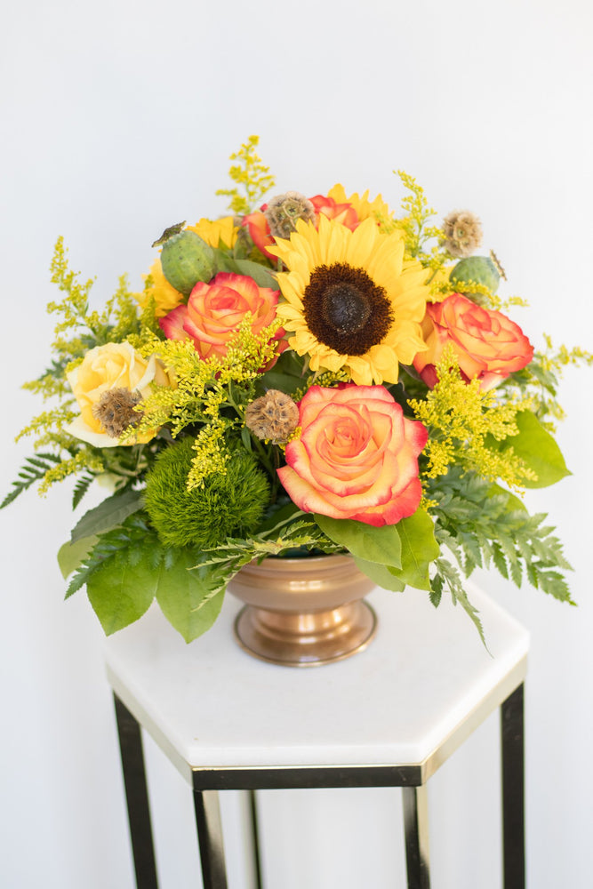Compote Arrangement Orange Yellow