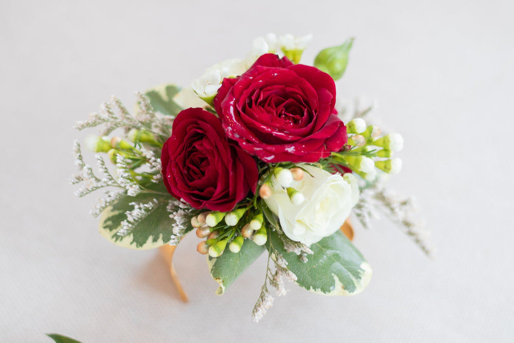 White and Red Roses Corsage available in Vancouver and Red Deer Studio