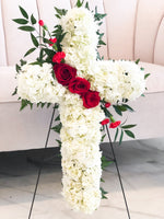 White Funeral Cross Wreath & Red Roses