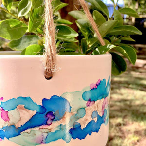 Hanging Hand Painted Pot Plant