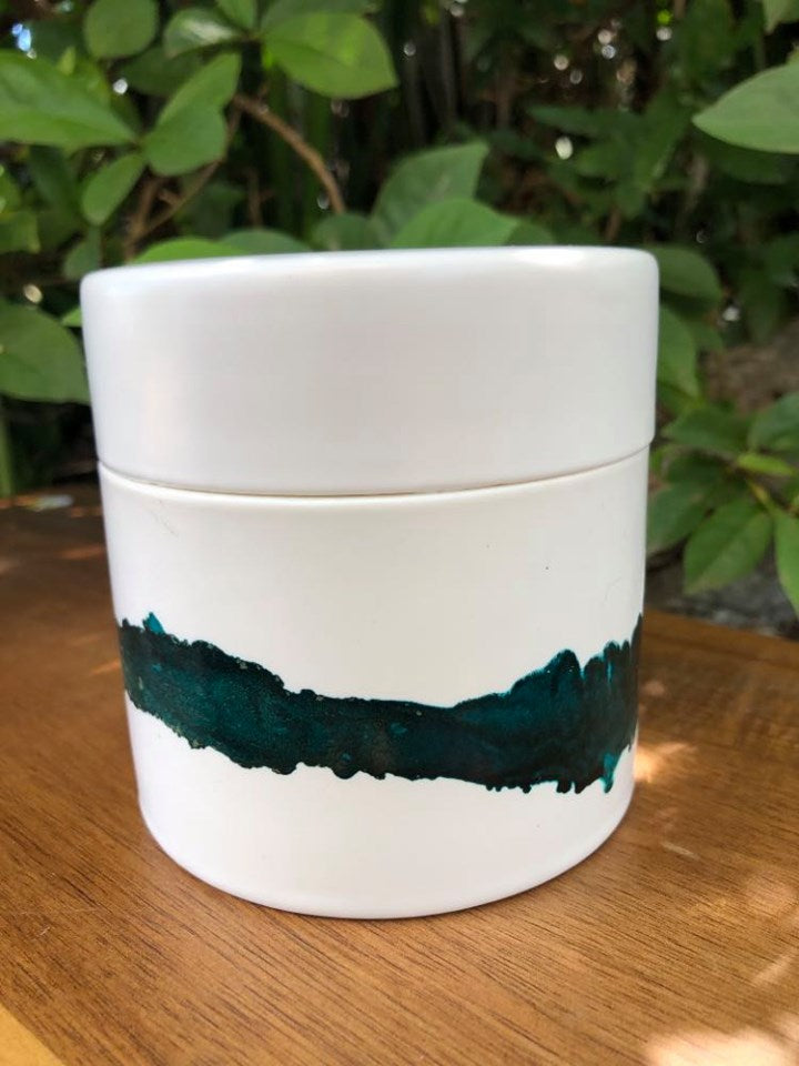 Candle - hand painted ceramic - Hawaiian Honey Blossom