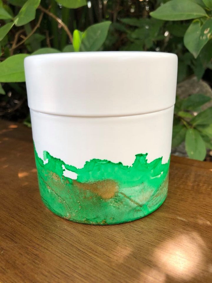 Candle - hand painted ceramic -  Island Coconut