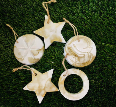 Christmas tree decorations set - white and gold shimmer