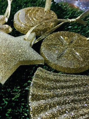 Christmas tree decorations set - gold glitter